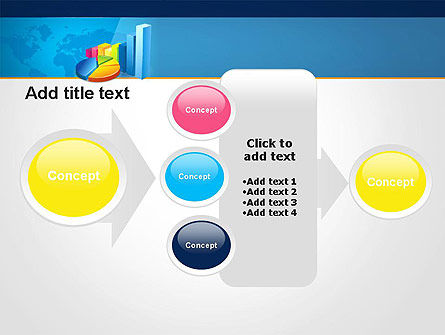 Bar and Pie Charts on Word Map PowerPoint Template Slide 17