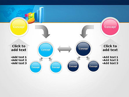 Bar and Pie Charts on Word Map PowerPoint Template Slide 19
