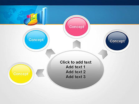 Bar and Pie Charts on Word Map PowerPoint Template Slide 7