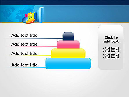 Bar and Pie Charts on Word Map PowerPoint Template Slide 8