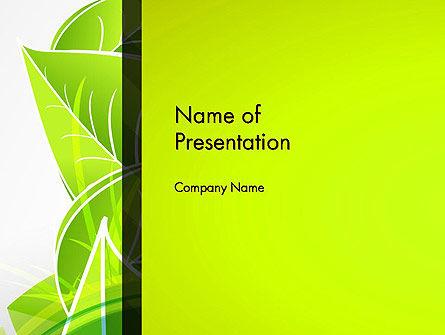 Green Neon Leaves PowerPoint Template, 13235, Nature & Environment — PoweredTemplate.com