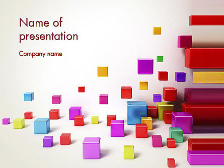 Scattered Colored Cubes PowerPoint Template, 13241, 3D — PoweredTemplate.com