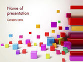 3D: Scattered Colored Cubes PowerPoint Template #13241