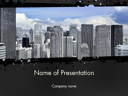 Business Skyscrapers PowerPoint Template, 13242, Construction — PoweredTemplate.com