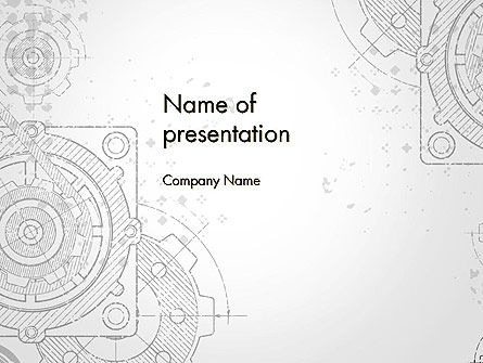 Utilities/Industrial: Machinetekening PowerPoint Template #13250