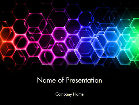 Rainbow Hexagons PowerPoint Template, 13251, Abstract/Textures — PoweredTemplate.com