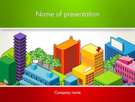 Isometric City Center PowerPoint Template, 13256, Construction — PoweredTemplate.com