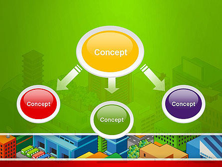 Isometric City Center PowerPoint Template, Slide 4, 13256, Construction — PoweredTemplate.com