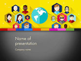 Business Concepts: Faces Around the Globe PowerPoint Template #13257