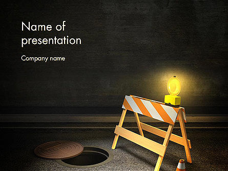 Street Under Construction PowerPoint Template, 13281, Construction — PoweredTemplate.com