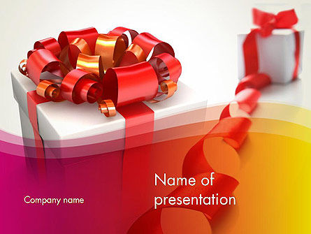 Gift Boxes with Red Bows PowerPoint Template, 13284, Holiday/Special Occasion — PoweredTemplate.com