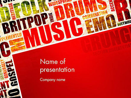 Art & Entertainment: Muziek Word Cloud PowerPoint Template #13286