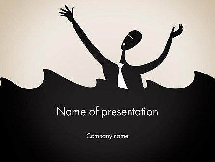 Drowning Businessman Cartoon PowerPoint Template