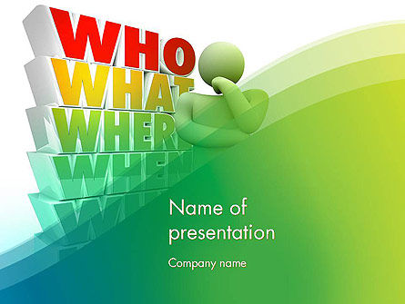 Who What Where When Why PowerPoint Template, 13296, Education & Training — PoweredTemplate.com