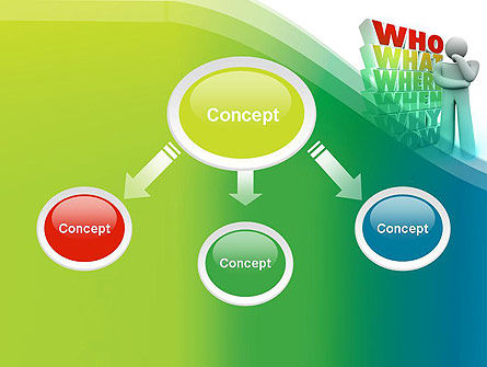 Who What Where When Why PowerPoint Template, Slide 4, 13296, Education & Training — PoweredTemplate.com