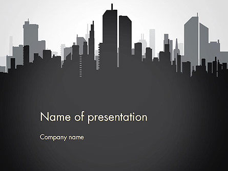 Black and White City Silhouette PowerPoint Template, 13297, Construction — PoweredTemplate.com