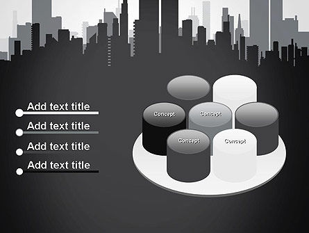 Black and White City Silhouette PowerPoint Template Slide 12