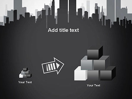 Black and White City Silhouette PowerPoint Template Slide 13