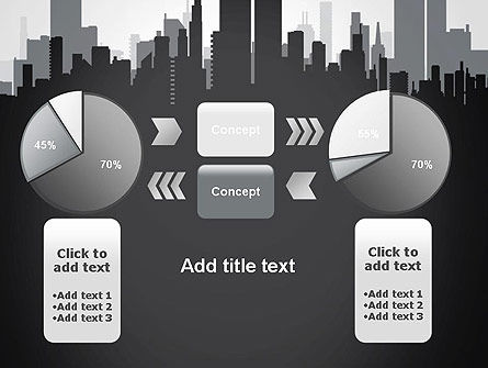 Black and White City Silhouette PowerPoint Template Slide 16
