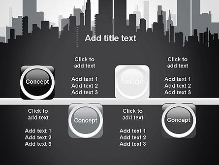 Black and White City Silhouette PowerPoint Template Slide 18