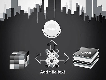 Black and White City Silhouette PowerPoint Template Slide 19