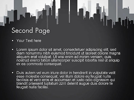 Black and White City Silhouette PowerPoint Template, Slide 2, 13297, Construction — PoweredTemplate.com
