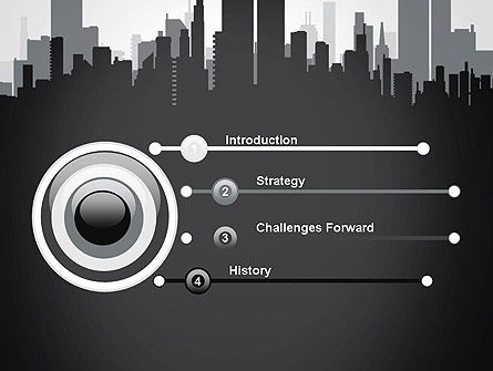 Black and White City Silhouette PowerPoint Template, Slide 3, 13297, Construction — PoweredTemplate.com
