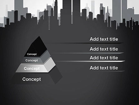 Black and White City Silhouette PowerPoint Template, Slide 4, 13297, Construction — PoweredTemplate.com