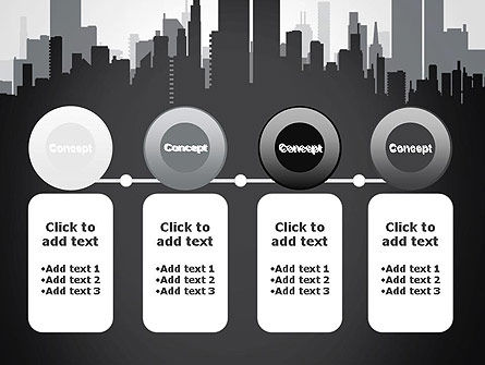 Black and White City Silhouette PowerPoint Template Slide 5