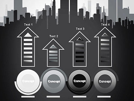 Black and White City Silhouette PowerPoint Template Slide 7