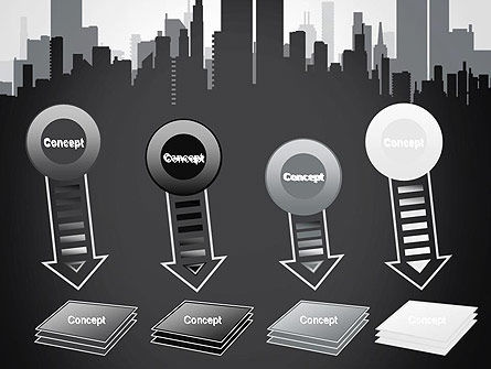 Black and White City Silhouette PowerPoint Template Slide 8
