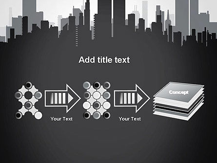 Black and White City Silhouette PowerPoint Template Slide 9