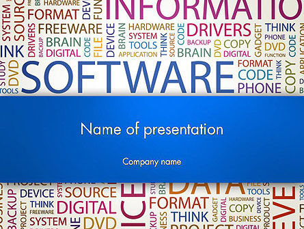 Careers/Industry: Software Word Cloud PowerPoint Template #13298