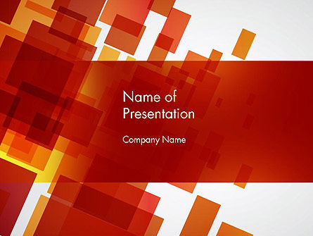 Red Overlapping Squares PowerPoint Template
