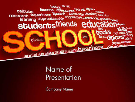 Education & Training: School Word Cloud PowerPoint Template #13316