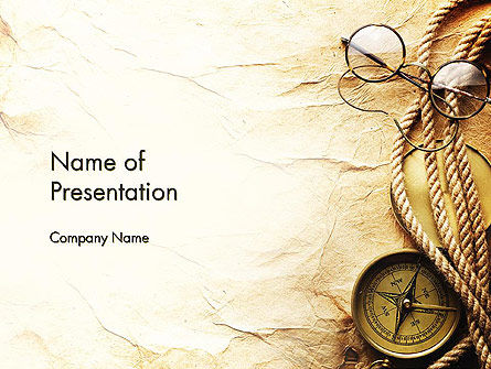 compass rope and glasses on old paper powerpoint template