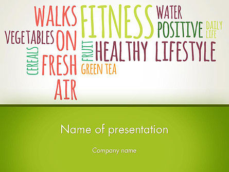 Healthy Lifestyle Word Cloud PowerPoint Template, 13362, Medical — PoweredTemplate.com