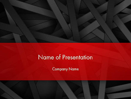 Abstract Black Overlapping Stripes PowerPoint Template, 13378, Business — PoweredTemplate.com