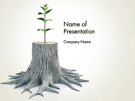 Tree Stump PowerPoint Template, 13389, Nature & Environment — PoweredTemplate.com