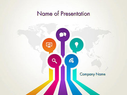 Word Map with App Icons PowerPoint Template