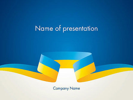 Abstract/Textures: Yellow-Blue Ribbon PowerPoint Template #13405