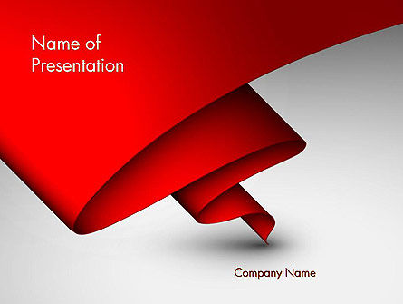 Fluttering Red Banner Abstract PowerPoint Template