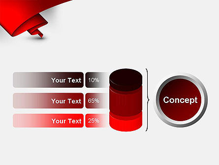 Fluttering Red Banner Abstract PowerPoint Template Slide 11