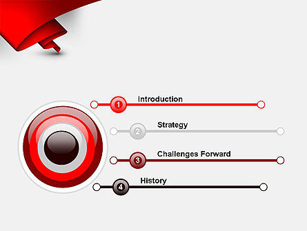 Fluttering Red Banner Abstract PowerPoint Template Slide 3