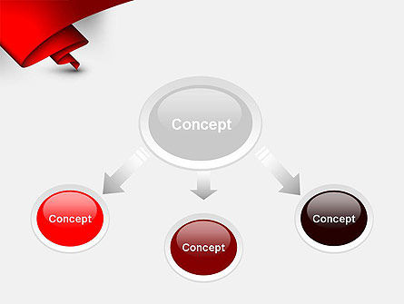 Fluttering Red Banner Abstract PowerPoint Template Slide 4