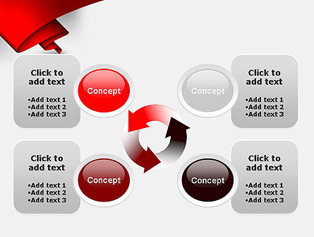 Fluttering Red Banner Abstract PowerPoint Template Slide 9