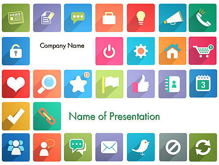 Icons in Flat Design PowerPoint Template, 13421, Business Concepts — PoweredTemplate.com