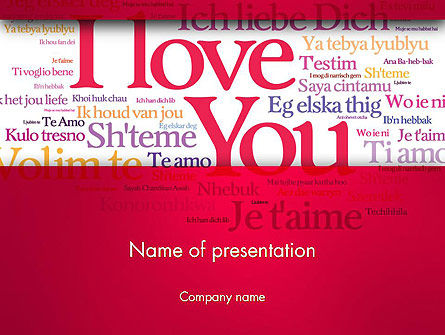 Declaration of Love in Different Languages PowerPoint Template