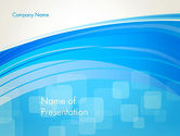 Abstract/Textures: Blue Wave with Transparent Squares Abstract PowerPoint Template #13428