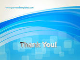 Blue Wave with Transparent Squares Abstract PowerPoint Template#20